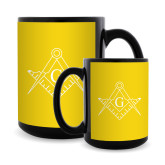 Full Color Black Mug 15oz-Square and Compass with G