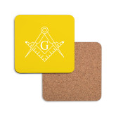 Hardboard Coaster w/Cork Backing-Square and Compass with G