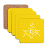 Hardboard Coaster w/Cork Backing 4/set-Square and Compass with G