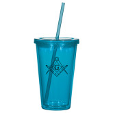 Madison Double Wall Turquoise Tumbler w/Straw 16oz-Square and Compass with G