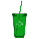Madison Double Wall Green Tumbler w/Straw 16oz-Square and Compass with G