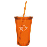 Madison Double Wall Orange Tumbler w/Straw 16oz-Square and Compass with G
