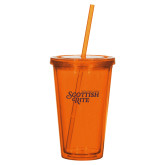 Madison Double Wall Orange Tumbler w/Straw 16oz-Scottish Rite
