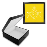 Ebony Black Accessory Box With 6 x 6 Tile-Square and Compass with G