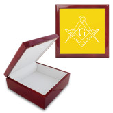 Red Mahogany Accessory Box With 6 x 6 Tile-Square and Compass with G