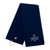Navy Golf Towel-Square and Compass with G