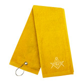 Gold Golf Towel-Square and Compass with G