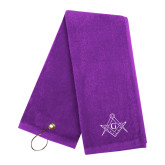 Purple Golf Towel-Square and Compass with G