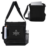 Impact Vertical Black Computer Messenger Bag-Square and Compass with G