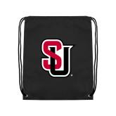 Black Drawstring Backpack-Tertiary Mark