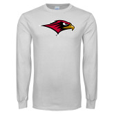 White Long Sleeve T Shirt-RedHawk Head