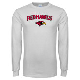 White Long Sleeve T Shirt-RedHawks Arched