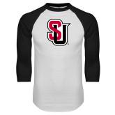 White/Black Raglan Baseball T-Shirt-Tertiary Mark