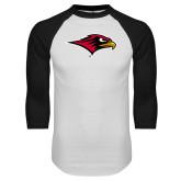 White/Black Raglan Baseball T-Shirt-RedHawk Head