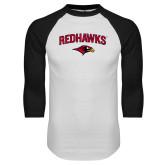 White/Black Raglan Baseball T-Shirt-RedHawks Arched