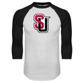 White/Black Raglan Baseball T-Shirt-Tertiary Mark Distressed