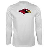 Performance White Longsleeve Shirt-RedHawk Head