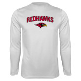 Performance White Longsleeve Shirt-RedHawks Arched