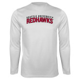 Performance White Longsleeve Shirt-SU RedHawks Arched