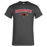 Charcoal T Shirt-RedHawks Arched