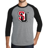 Grey/Black Tri Blend Baseball Raglan-Tertiary Mark