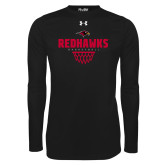 Under Armour Black Long Sleeve Tech Tee-Basketball Net Design