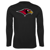 Performance Black Longsleeve Shirt-RedHawk Head