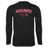 Performance Black Longsleeve Shirt-RedHawks Arched