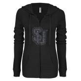 ENZA Ladies Black Light Weight Fleece Full Zip Hoodie-SU Interlocking Glitter