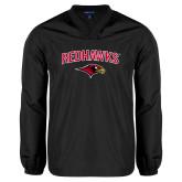 V Neck Black Raglan Windshirt-RedHawks Arched