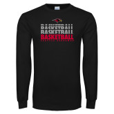 Black Long Sleeve TShirt-Basketball Triple Stacked