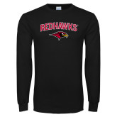 Black Long Sleeve TShirt-RedHawks Arched