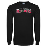 Black Long Sleeve TShirt-SU RedHawks Arched