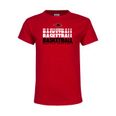 Youth Red T Shirt-Basketball Triple Stacked
