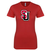 Next Level Ladies SoftStyle Junior Fitted Red Tee-Tertiary Mark