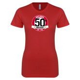 Next Level Ladies SoftStyle Junior Fitted Red Tee-Soccer 50th Anniversary