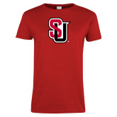Ladies Red T Shirt-Tertiary Mark