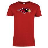 Ladies Red T Shirt-RedHawk Head