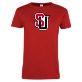 Ladies Red T Shirt-Tertiary Mark Distressed
