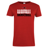Ladies Red T Shirt-Basketball Triple Stacked