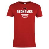 Ladies Red T Shirt-Basketball Net Design