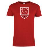 Ladies Red T Shirt-Soccer Shield Design