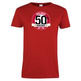 Ladies Red T Shirt-Soccer 50th Anniversary