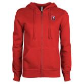 ENZA Ladies Red Fleece Full Zip Hoodie-Tertiary Mark