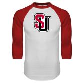 White/Red Raglan Baseball T-Shirt-Tertiary Mark