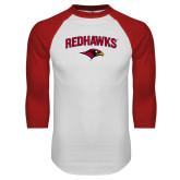 White/Red Raglan Baseball T-Shirt-RedHawks Arched