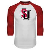 White/Red Raglan Baseball T-Shirt-Tertiary Mark Distressed