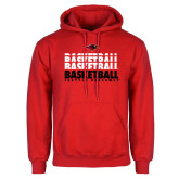 Red Fleece Hoodie-Basketball Triple Stacked