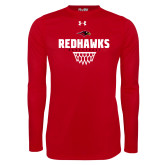 Under Armour Red Long Sleeve Tech Tee-Basketball Net Design