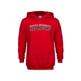 Youth Red Fleece Hoodie-SU RedHawks Arched